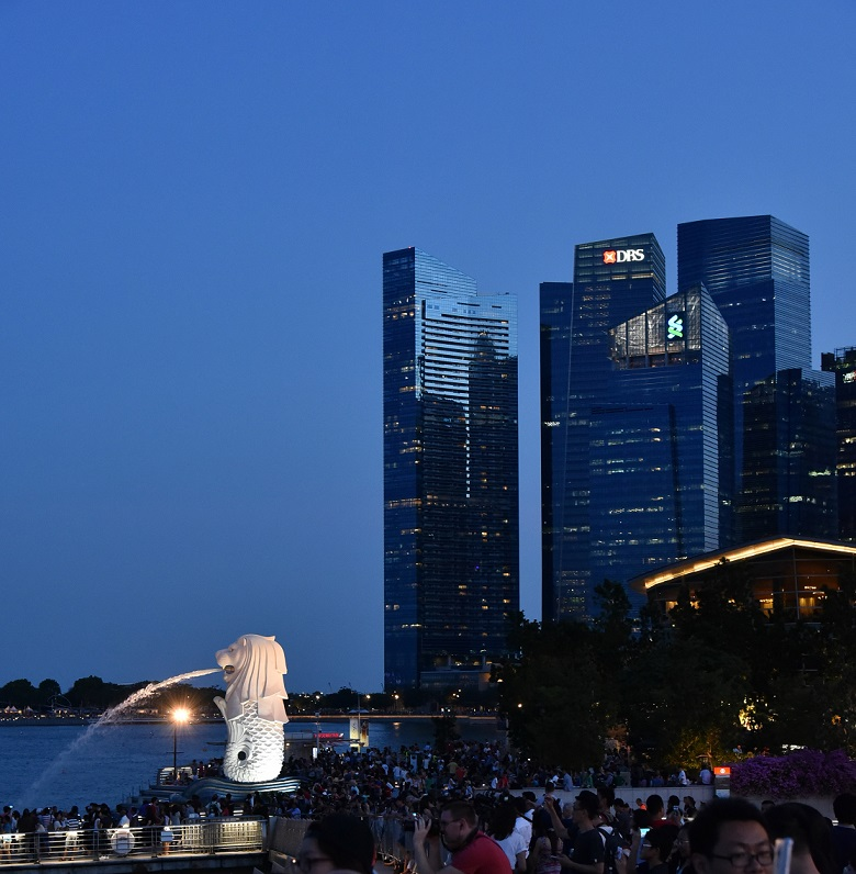 Singapore's Marina Bay (background) has the most transformed skyline