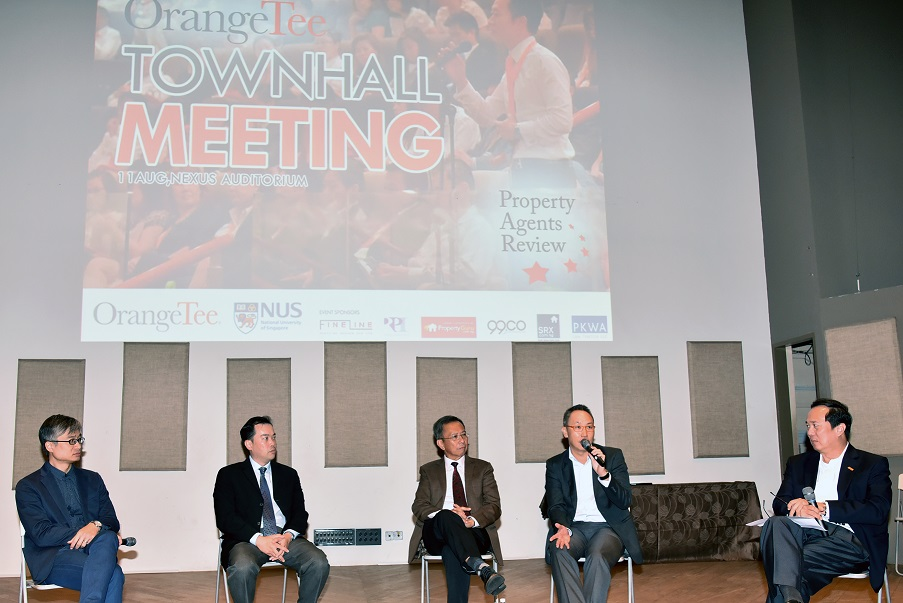 Panelists at OrangeTee's townhall meeting (from left): Bill Leung of OrangeTee; Davin Wang and Ong Seow Eng of NUS; and Steven Tan and Michael Tan of OrangeTee - EDGEPROP SINGAPORE