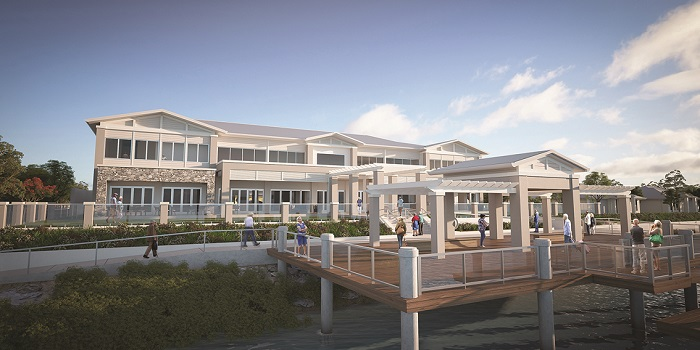 The waterfront clubhouse building at GemLife Bribie Island, which features views of the 9.5ha lake